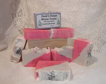 Winter Forest Handcrafted Soap with Poppy Seeds, Shea Butter, Mild Exfoliant