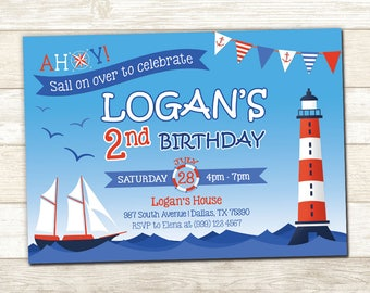 Nautical Birthday Invitation - Nautical Birthday Invite - Nautical Party invitation - Sail Boat Birthday invitation - Ahoy Party Invite