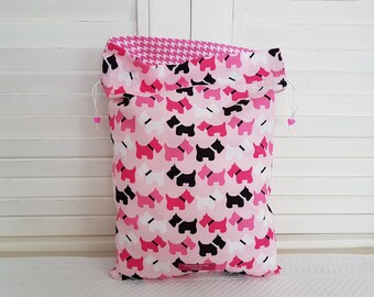 Small dogs black and pink printed on my pouch