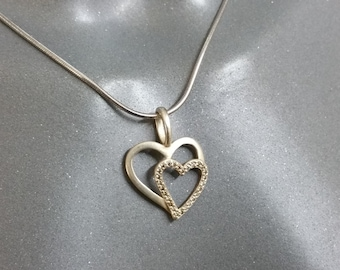 Pendant 925 Silver double heart crystals SK868