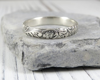 Sterling Silver Ring Vintage Style , Silver Thumb Ring, Sterling Silver Stacking Ring, Antique Style Wedding Ring