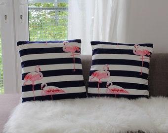 White and Navy Stripe Flamingo Cushion Cover