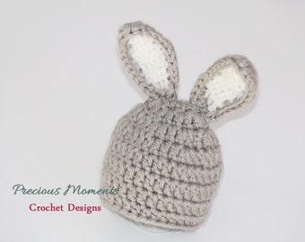Gray Bunny Hat, Easter Bunny Hat, Newborn Easter Hat, Baby Bunny Hat, Newborn Photo Prop, Crochet Bunny, Baby Hat, Spring, Crochet Carrot