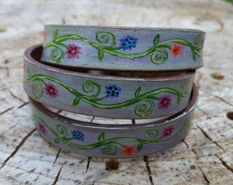 Leather wrap cuff bracelet, hand painted, hand made