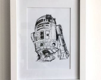 Limited Edition R2D2 Ink Drawing Print
