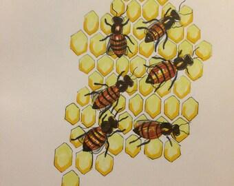 Inktober Honey Bee Print!