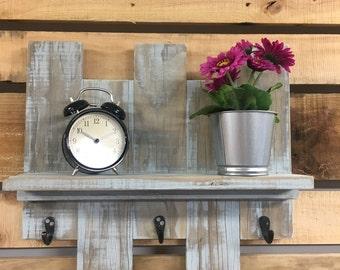 Shabby Chic Shelf, Recycled Wood Shelf, Shelf With Hooks, Pallet wall Art, Rustic Decor, Painted Wood Decor, Reclaimed Wooden Shelf