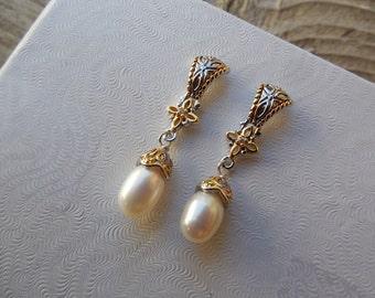 Byzantine pearl earrings handmade in sterling silver