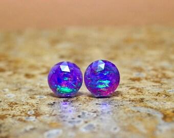 Plum Purple Fire Opal Stud Earrings, Faux Opal Resin Post Earrings, 12mm Round Earrings, Glittering Sparkly Studs Stainless Steel