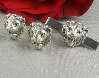 Silver Lion Cufflinks, Lion, Silver Lion, Vintage Inspired, Steampunk, Gothic, Goth, Safari Animals