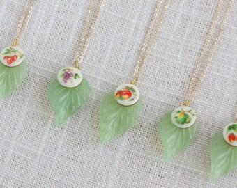 Vintage Kawaii Fruit and Leaf Charm Necklace