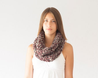 Sales Chunky cowl knit neck warmer knit collar in black oxblood and light grey slouchy collar