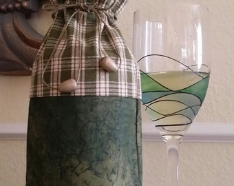 Wine Bag-Deluxe-Country Collection (Green n' Plaid)