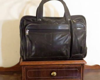 Dads Grads Sale Hartmann Black Leather Soft Side Briefcase Bag Made In U.S.A. - GUC- Carrying Strap Missing