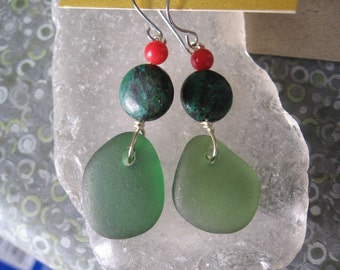 Dangly Deep Forest Green Lake Superior Beach Glass Earrings