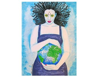 Earth Mixed Media on Watercolor Paper