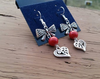 Red Bow and Heart Charm Earrings with Red Bead Focal Point - Womens Fashion Accessories Gift Ideas