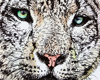 Snow Leopard ACEO Print, Acrylic Painting Print, Animal Art Print, ACEO ATC