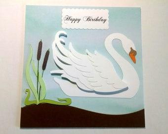 White Swan Happy Birthday Card, Swan Die Cut, Birthday Cards, Blank Inside, White Swan, Happy Birthday Cards