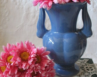 Vintage Blue Art Pottery Vase Niloak Ozark  Farmhouse  Shabby Chic Cottage Style   WhenRosesBloom