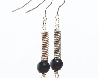 Guitar String Jewelry-  Upcycled Black Bead & Silver Guitar String Earrings, Guitar Player Gift, Music Jewelry by Tanith Rohe