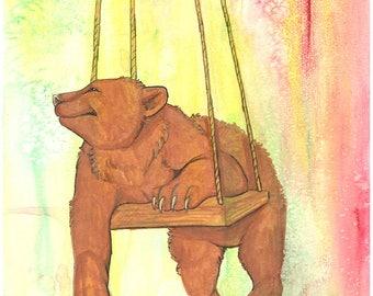 Swingin' Baby Bear Original Mixed Media Painting