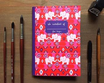 Elephant notebook, ikat print, A5 notebook, Grid notebook, colorful notebook, animal notebook