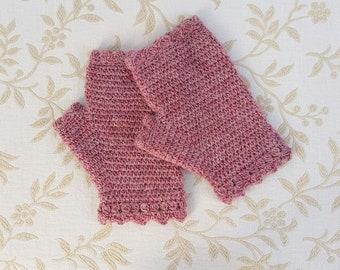 Fingerless crochet gloves, crochet hand warmers, dusty pink gloves, wool gloves, crochet mittens, winter accessory