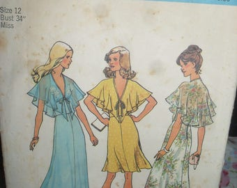 Vintage Simplicity Sewing  Pattern - Halter Dress in Two Lengths  - Size 12- 1975 - # 6898