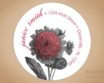 Botanical Distressed Pink Return Address Stickers