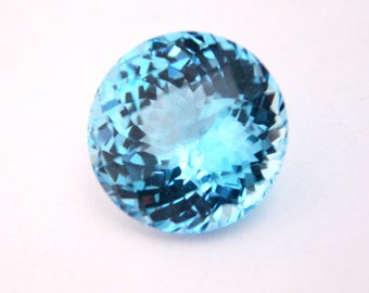 22x22MM Natural Swiss Blue Topaz Round Shape Witch Checker Cut