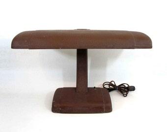 Vintage Art Deco Streamline Desk Lamp with Hammertone Finish. Circa 1950's.
