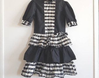 Vintage Black and Silver Girls Dress