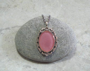 Dusty Rose Cameo Necklace Pink Handpainted Pendant Antique Silver