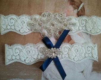 SALE - Wedding Garter, Bridal Garter, Garter - Crystal Rhinestone  on a White Lace with Navy Bow - Style G2084
