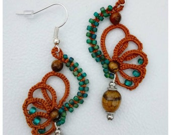 Tatted Earrings With Tiger's Eye.