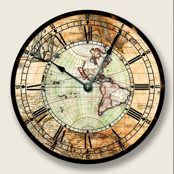 105 wall clock antique map wall clock western 105 wall clock antique map wall clock western hemisphere colorful vintage print old world look 7013 gumiabroncs Image collections