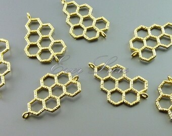 Top seller! 2 honeycomb connector pendants, geometric honeycomb charms, jewelry pendants in matte gold 1053-MG