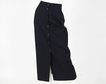 SALE State of Claude Montana 1980's Vintage Minimalist Black Wool Snap Up Skirt Sz XS S