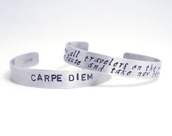 Hand stamped Bracelet Personalized Cuff Quote Poem Song Lyrics