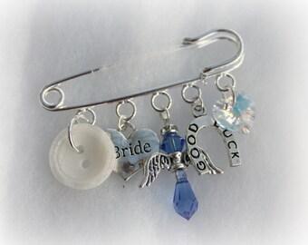 Something Old Something New Borrowed Blue Keepsake Pin Bridal Gift Wedding Gift