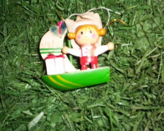 """Christmas tree ornament """"Captain of the Ship"""", wooden, hand painted, three dimension,  2"""" W x 3"""" H"""