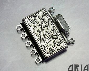 NOUVEAU BOX CLASP:  23x21mm Antique Silver Plated Brass Five Strand Nouveau Box Clasp (1)
