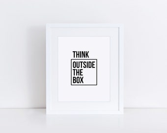 Think Outside The Box, Typography Print, Typography Art, Minimalist Poster, Simple Prints, Scandinavian Print, Affiche Scandinave, Wisdom