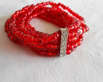 RubyRed Seed Bead Bracelet