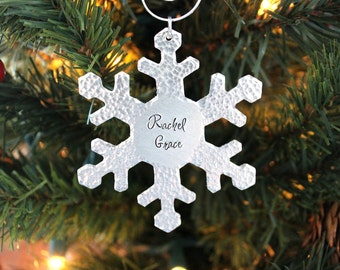 Personalized Ornament - Snowflake - Hand Stamped Christmas Ornament -