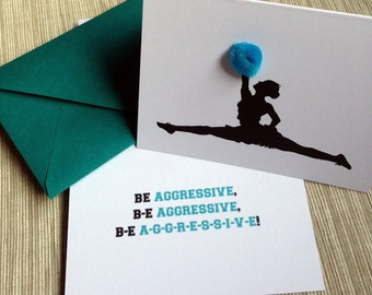 "Cheerleader Silhouette with Pom Poms - ""Be Aggressive"" Inspirational Encouragement Greeting Card"