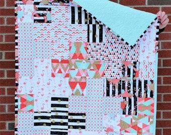 Mint / Coral / Black & White PLUS Quilt - Stripes, Flamingos, Polka Dots - Baby / Toddler / Lap Quilt
