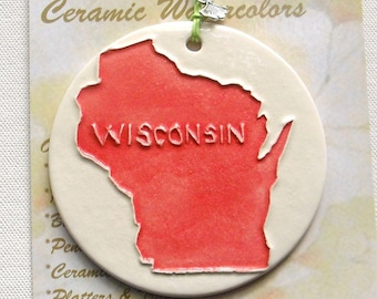 Big Red state Wisconsin ornament includes free gift wrap under 25