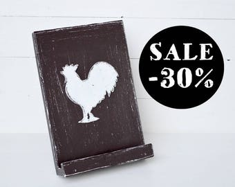 Rustic IPad Stand Wooden Tablet Stand Cookbook Holder Kitchen Recipe Chef Gift Shabby Brown Rooster